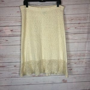 Theory Beige Knit Linen Cotton Blend Skirt Size M